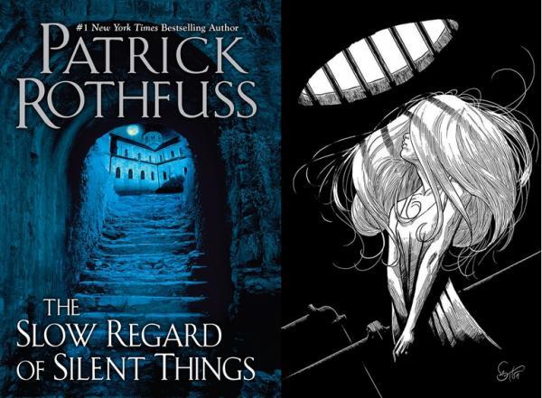 La copertina del romanzo breve The Slow Regard of Silent Things e un'illustrazione interna (raffigurante Auri) realizzata da Nate Taylor