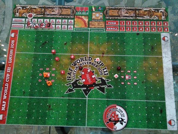 Tabellone ufficiale del terzo Campionato Mondiale di Blood Bowl (foto a cura del redattore)