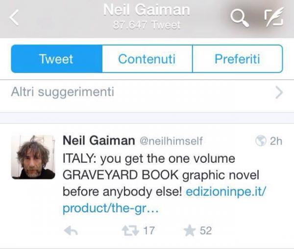 il twett di Neil Gaiman su NPE