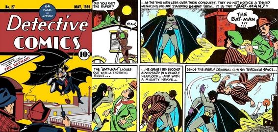 La prima apparizione di Batman sulla copertina (a sinistra) e in alcune vignette (a destra) di Detective Comics #27 del maggio 193