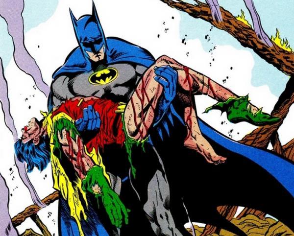 Il Cavaliere Oscuro rinviene il corpo senza vita di Jason Todd in Batman #428 (dicembre 1988) di Jim Starlin (storia e testi) e Jim Aparo (disegni)