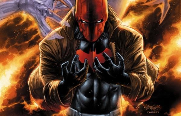Cappuccio Rosso (Jason Todd) sulla copertina di Red Hood and the Outlaws #36 (gennaio 2015) illustrata da Stephen Segovia