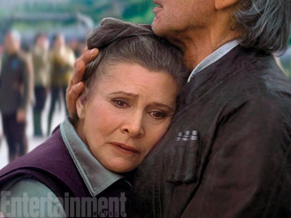Carrie Fisher ed Harrison Ford in Star Wars: il risveglio della Forza