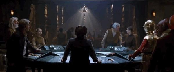 La riunione dei capi della Resistenza vista nel trailer di Star Wars: il risveglio della Forza