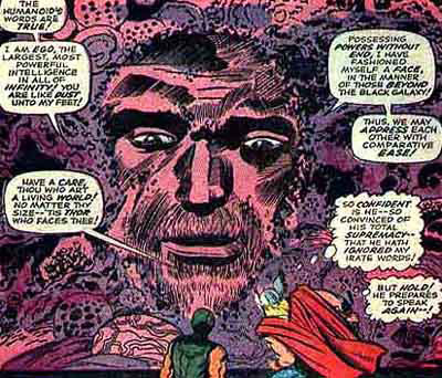 Ego, il pianeta vivente. Disegno di Jack Kirby.