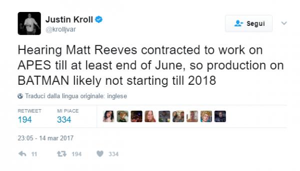 Il tweet di Justin Kroll