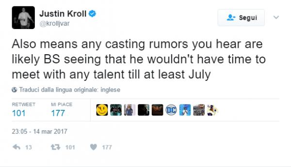 Secondo tweet di Justin Kroll