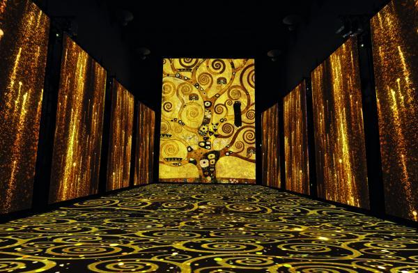 Le proiezioni interagiscono con l'ambiente che le ospita, ridisegnandolo e valorizzandolo. I motivi tratti dai dipinti più celebri del grande artista rivestono lo spazio e avvolgono lo spettatore. Particolare e texture ispirate a G. Klimt, L'albero della vita, dal Fregio per Palazzo Stoclet a Bruxelles