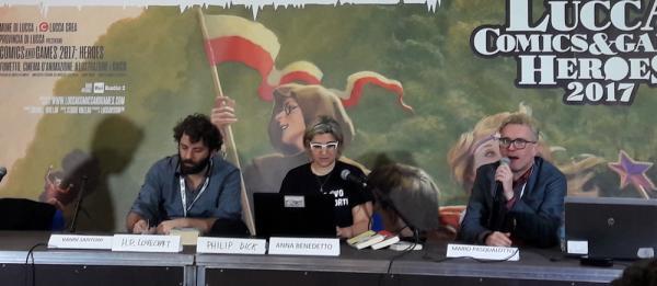 Vanni Santoni, Anna Benedetto e Mario Pasqualotto a Lucca Comics & Games