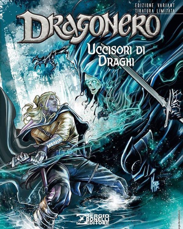 La copertina speciale realizzata da Marco Checchetto per l'albo di Dragonero numero 54, Uccisori di draghi, in anteprima a Lucca Comics & Games.