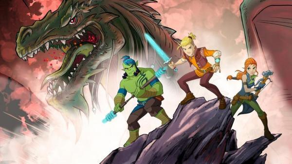 l'immagine promozionale distribuita da Rai, in collaborazione con Sergio Bonelli Editore per la serie animata di Dragonero