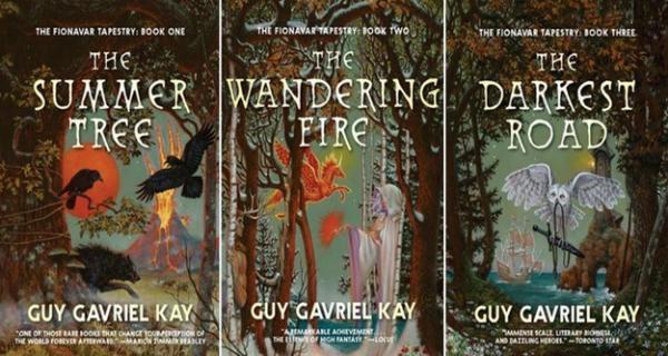 La copertina dei tre romanzi che compongono The Fionavar Tapestry di Guy Gavriel Kay nelle illustrazioni di Janny Wurts e DonMaitz