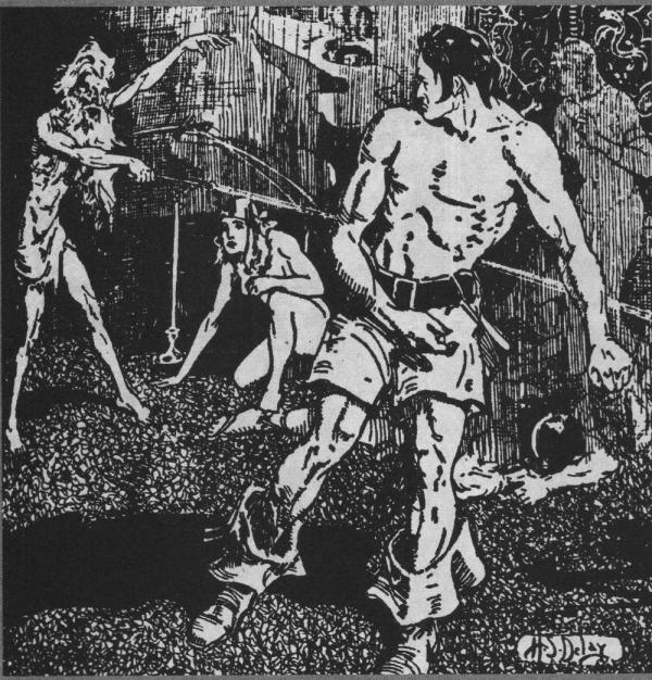 Illustrazione di H.D. Deley per Chiodi Rossi, pubblicata su Weird Tales nel 1936