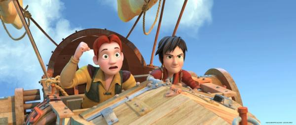 Leo e il suo amico Lorenzo in volo in Leo Da Vinci: Missione Monna Lisa.