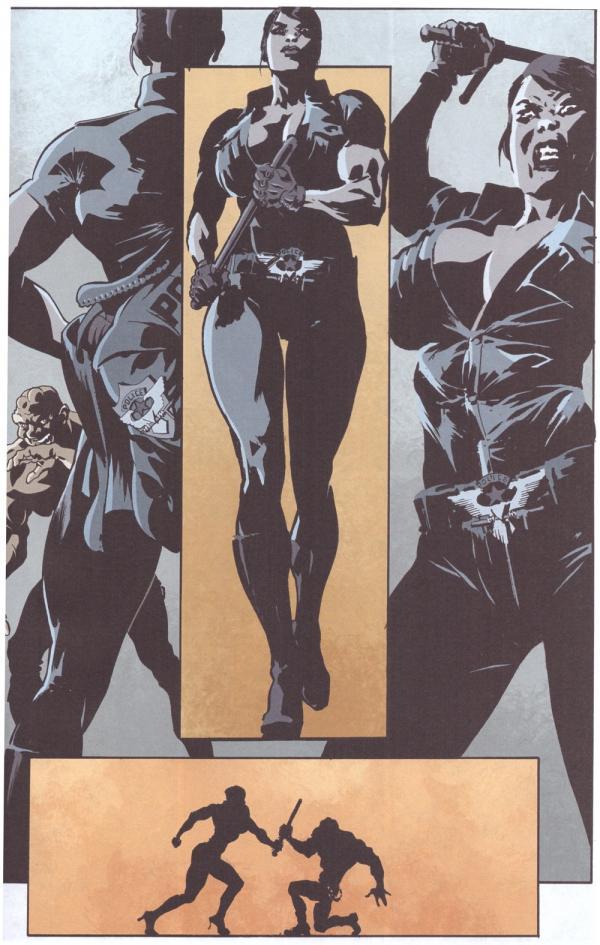 L'anarco-insù-erezionalista vs. la sbirra dominatrix muscle-goddess, disegno di Giorgio Santucci