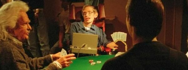 Stephen Hawking in Star Trek, gioca a poker con Einstein e Data