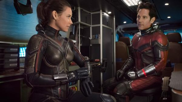 Evangeline Lilly e Paul Rudd sul set di Ant-Man and The Wasp
