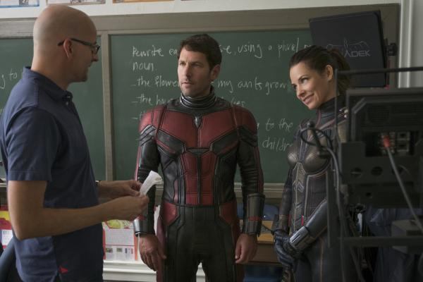 Peyton Reed, Paul Rudd ed Evangeline Lilly sul set di Ant-Man and The Wasp