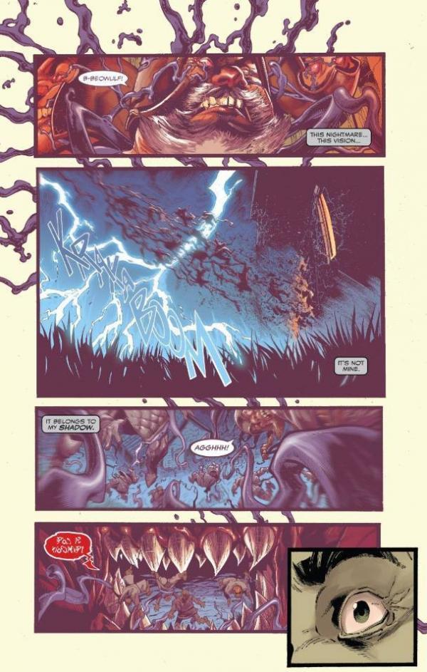 Una tavola da Venom n. 1, in cui è coinvolto anche Beowulf, il leggendario eroe della mitologia nordica.