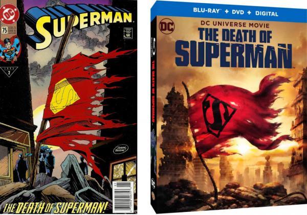 La copertina di Superman #75 a confronto con la custodia del Blu-Ray, entrambe dedicate alla morte dell'Uomo d'acciaio.