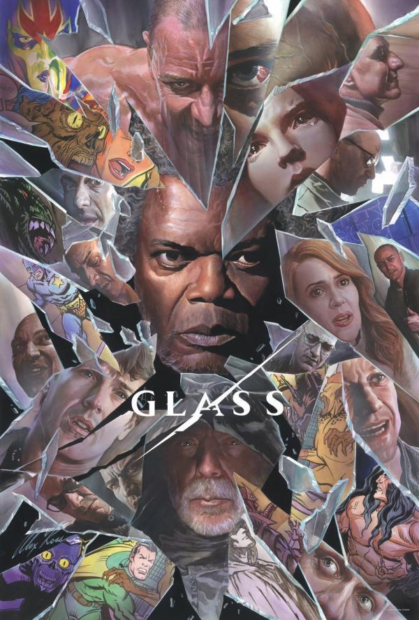 Il poster di Glass realizzato da Alex Ross per San Diego Comic-Con 2018.