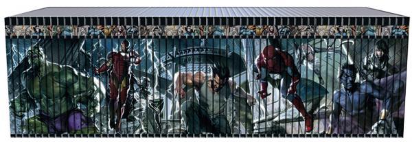Tutti i volumi della Collezione definitiva Marvel affiancati, che compongono l'illustrazione realizzata da Gabriele Dell'Otto.