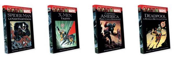 I primi quattro volumi della Collezione definitiva delle graphic novel Marvel.