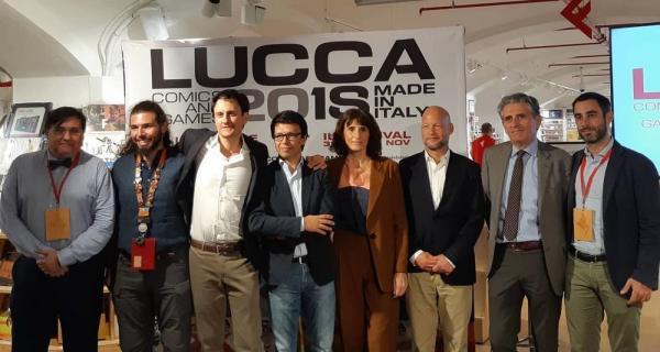 Emanuele Vietina (terzo da sinistra) e gli ospiti della conferenza stampa di Lucca Comics & Games 2018