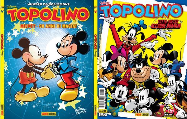 Le copertine di Topolino 3284. A sinistra, la variant cover illustrata da Massimo De Vita. A Destra, la versione regular opera di Casty.