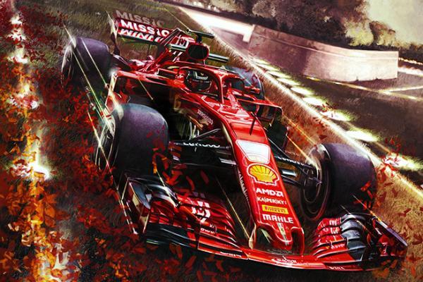 Un'illustrazione esposta alla mostraScuderia Ferrari – The Art of Racing a Lucca Comics & Games 2018. (Fonte: luccacomicsandgames.com)