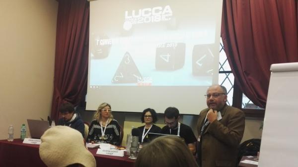Andrea Angiolino al convegno degli autori di giochi di ruolo a Lucca Comics & Games.