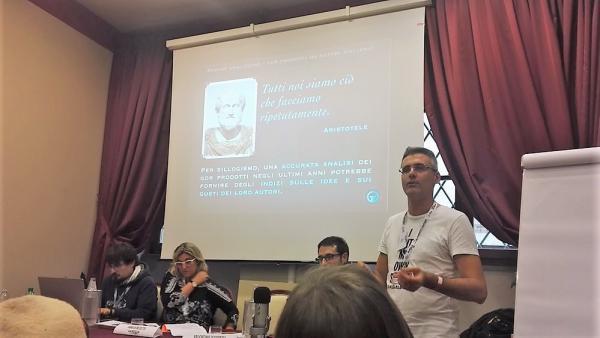 Gilbert Gallo al convegno di autori di giochi di ruolo a Lucca Comics & Games.