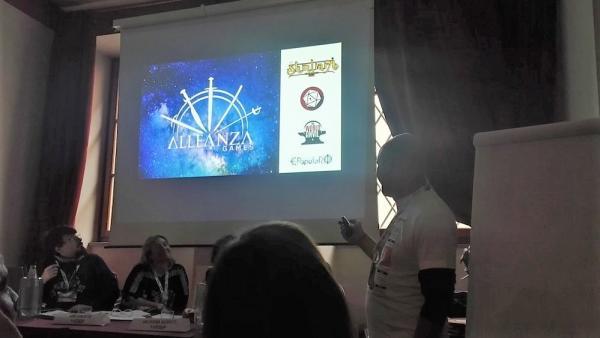 Giovanni Pola al convegno degli autori di giochi di ruolo a Lucca Comics & Games.