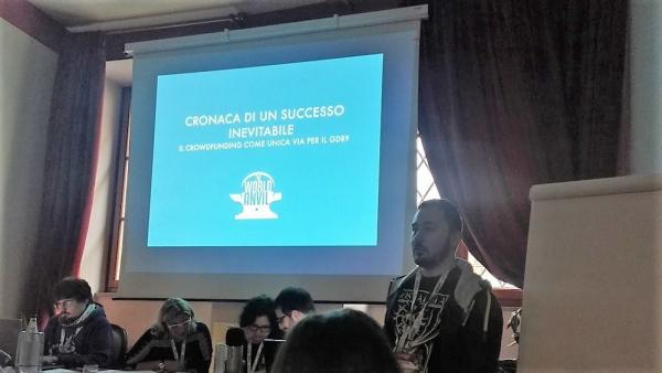 Tommaso De Benetti al convegno degli autori di giochi di ruolo a Lucca Comics & Games.