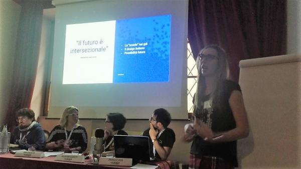 Marta Ciaccasassial convegno degli autori di giochi di ruolo a Lucca Comics & Games.