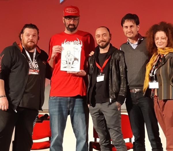 L'incontro su Marvel's Spider-Man a Lucca Comics & Games. Da sinistra: Marco Checchetto, Christian Cameron, Jacopo Camagni, Emanuele Vietina