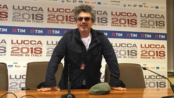 Miltos Yerolemou al Press Cafè di Lucca Comics & Games. (Foto di Cinzia Zagato)