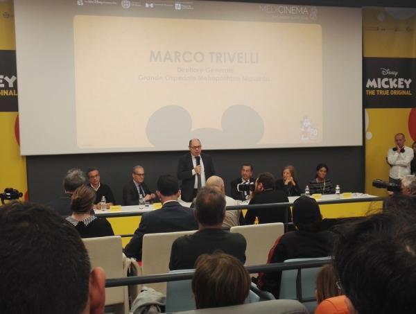 Direttore Generale dell'ospedale Marco Trivelli in sala MediCinema all'inaugurazione della Sala Medicinema dell'ospedale Niguarda.
