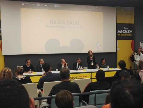 Presidente di MediCinema Fulvia Salvi in sala MediCinema all'inaugurazione della Sala Medicinema dell'ospedale Niguarda.