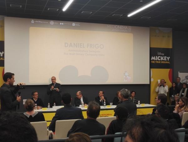 L'Amministratore Delegato Disney Italia Daniel Frigo all'inaugurazione della sala MediCinema dell'ospedale Niguarda.