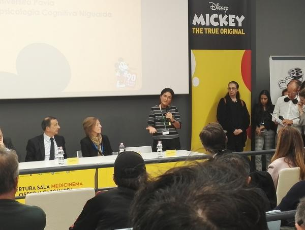 La professoressa Gabriella Bottini all'inaugurazione della sala Medicinema del Niguarda di Milano.