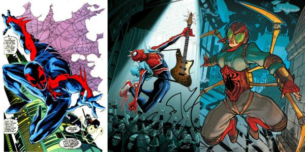Spider-Man 2099, Spider-Punk e Lady Spider. Fonte: Marvel.wikia.com.