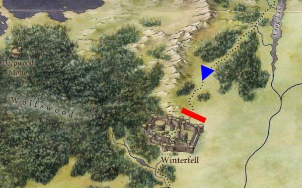 Il Teatro della Battaglia (da Lands of Ice and Fire, 2012) -Il teatro della battaglia: in rosso, l'armata dell'Alleanza dei Viventi; in blu, la direzione di marcia dell'Esercito dei Morti. Da rilevare che nell'adattamento televisivo, a differenza di quanto emerge da questa mappa ufficiale dell'area, Grande Inverno e lo schieramento dei difensori sembrano essere chiusi anche sul lato ovest da ostacoli naturali (illustrazione tratta da George R.R. Martin, Jonathan Roberts, The Lands of Ice and Fire: Maps from King's Landing to Across the Narrow Sea, New York, Bantam Books, 2016).