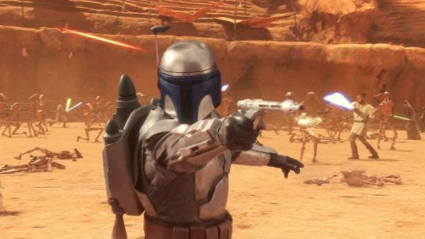 Jango Fett in un fotogramma di Star Wars episodio II: L'attacco dei cloni (2002)
