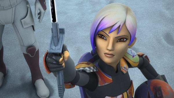 Sabine Wren impugna la dark saber in un fotogramma tratto da Star Wars: Rebels.
