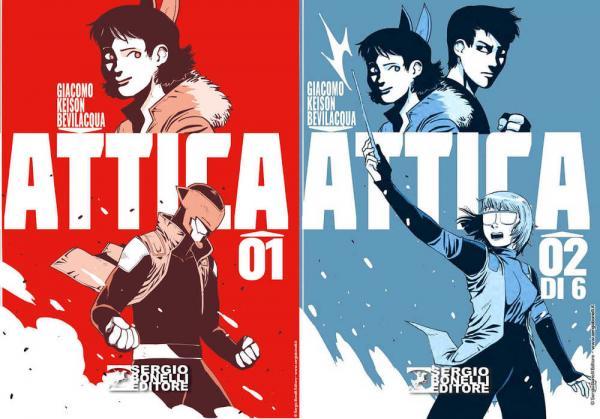 Le cover del volume 1 e 2 di <i>Attica</i> di Giacomo Bevilacqua