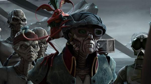 Hondo Ohnaka, il famigerato e simpatico pirata spaziale in un fotogramma di Star Wars: The Clone Wars.