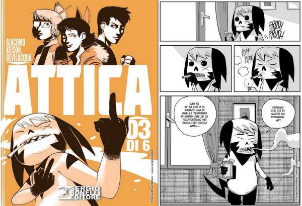 La cover del terzo volume di Attica (a sinistra) e una tavola interna. Fonte: Sergiobonelli.it