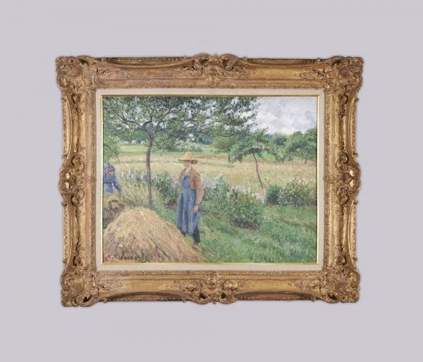 Camille Pisarro - Gardener standing by a Haystack, overcast sky, Eragny -1899