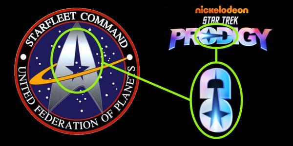 Il segno grafico condiviso tra il logo della Flotta Stellare e quello della nuova serie Star Trek: Prodigy